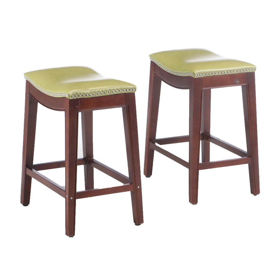 Pair of Mahogany-Stained and Green Faux-Leather Counter-Height Stools