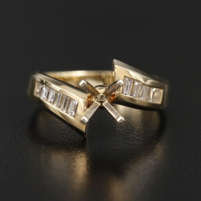 14K Yellow Gold Diamond Semi-Mount Bypass Ring