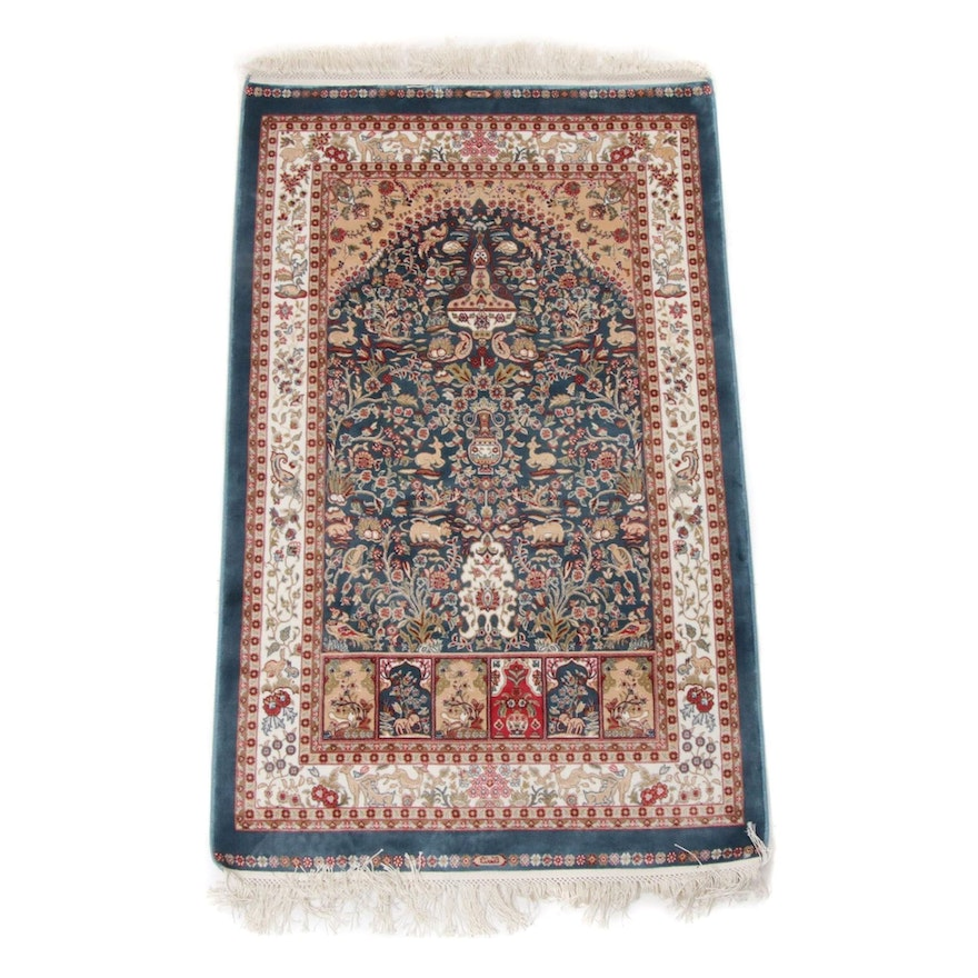 2'6 x 4'8 Hand-Knotted Turkish Artificial Silk Rug, 2010s