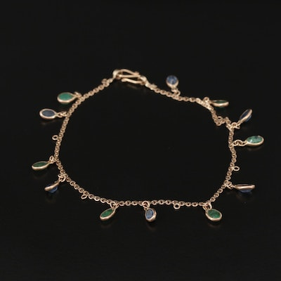 10K Yellow Gold Blue Sapphire and Emerald Dangle Bracelet