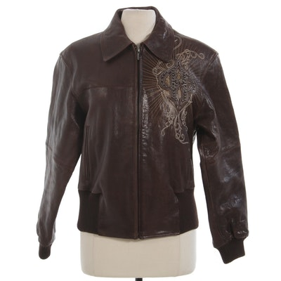 Pelle Pelle Studded Embroidered Brown Leather Jacket