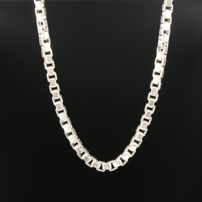 "Tiffany & Co. ""Venetian Link"" Sterling Silver Box Chain Necklace"
