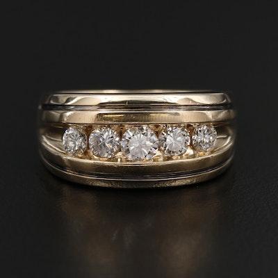 14K White Gold 1.05 CTW Diamond Channel Ring