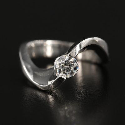 Platinum 0.35 CT Diamond Solitaire Ring