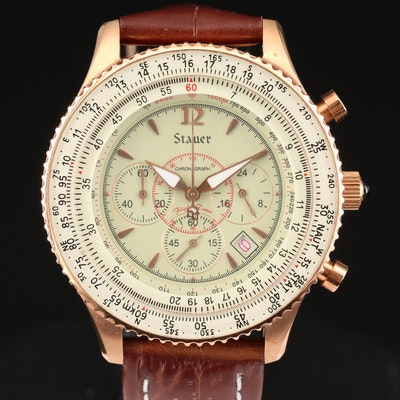 Stauer Stainless Steel and Rose Gold Tone Chronograph Wristwatch With Date
