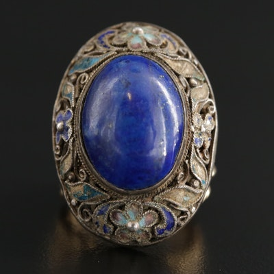 Sterling Silver and 14K Lapis Lazuli and Enamel Scrollwork Ring