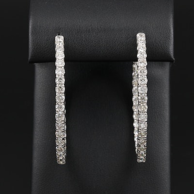 14K White Gold 7.02 CTW Diamond Inside-Out Hoop Earrings