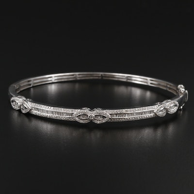 14K White Gold Diamond Hinged Bracelet