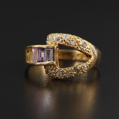 14K Yellow Gold Sapphire and Cubic Zirconia Ring