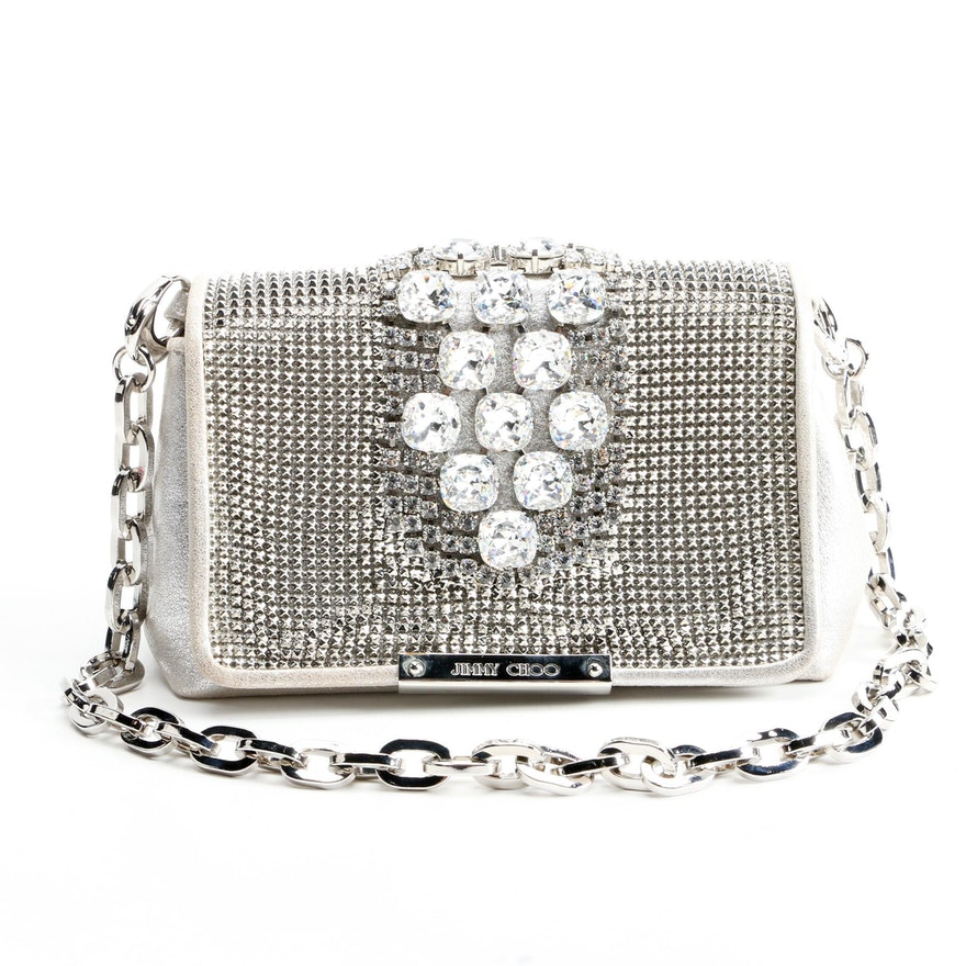 Jimmy Choo Cecile Crystal Embellished Metallic Mesh Clutch Bag