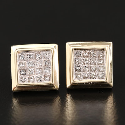 14K Yellow Gold, Invisible Set 1.00 CTW Diamond Button Earrings