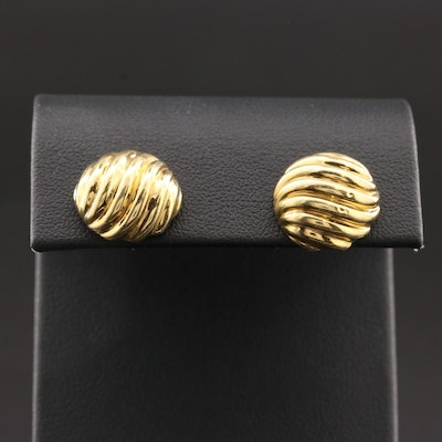"Vintage David Yurman ""Sculpted Cable"" 18K Yellow Gold Stud Earrings"