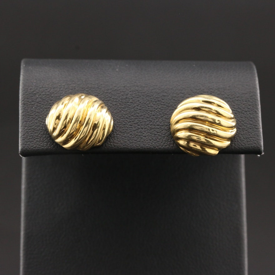 """Vintage David Yurman """"Sculpted Cable"""" 18K Yellow Gold Stud Earrings"""