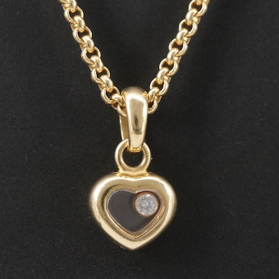 Chopard 18K Floating Diamond Heart Pendant Necklace