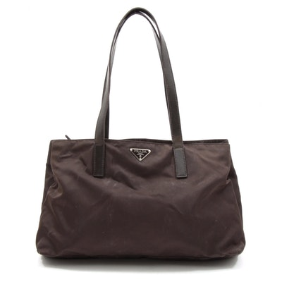 Prada Brown Nylon and Leather Divided Mini Tote Bag