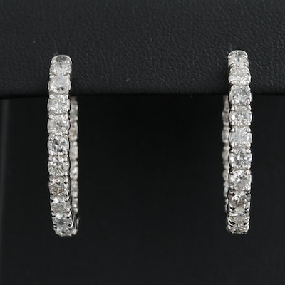 14K White Gold 3.50 CTW Diamond Inside-Out Hoop Earrings
