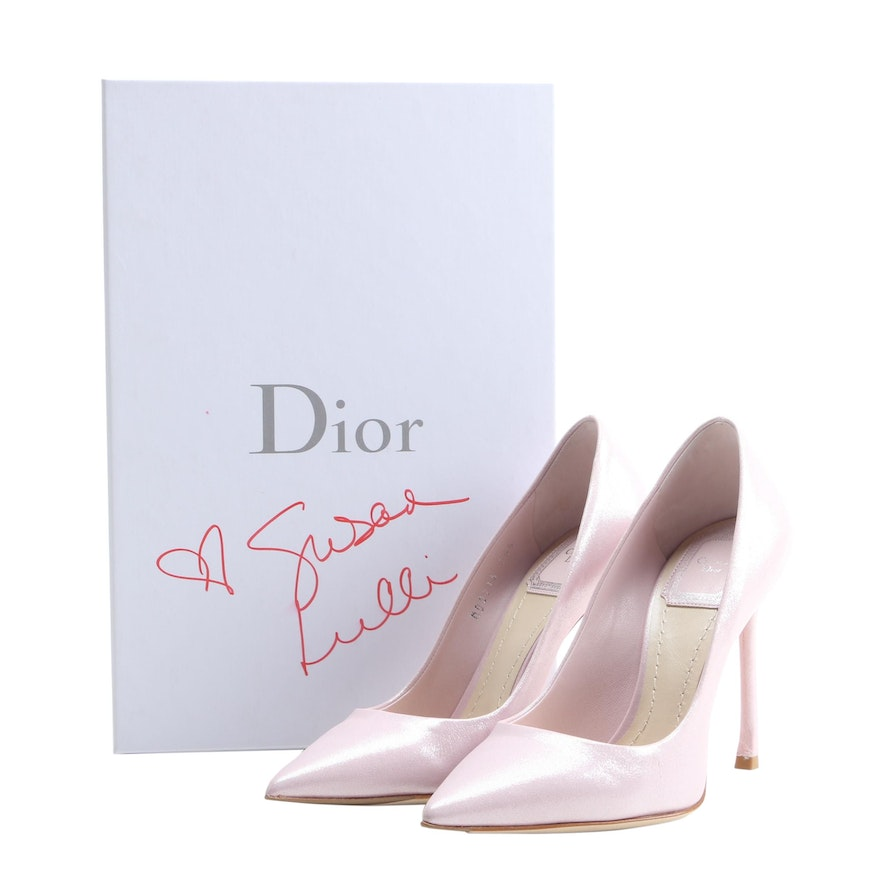 Christian Dior Pink Essence Glittery Suede Pumps with Box Signed by Susan Lucci