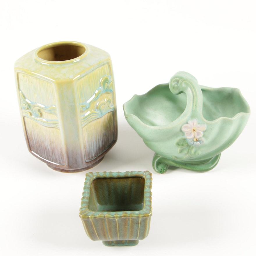 "Roseville Pottery ""Wincraft"" Vase, Weller ""Gloria"" Basket Planter and Other"