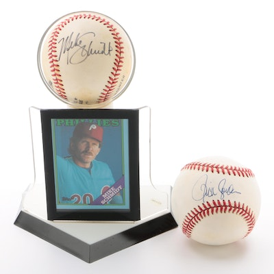 Mike Schmidt and Ricky Jordan Signed National League Baseballs     COA