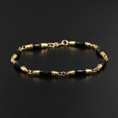 18K Yellow Gold Black Onyx Bracelet