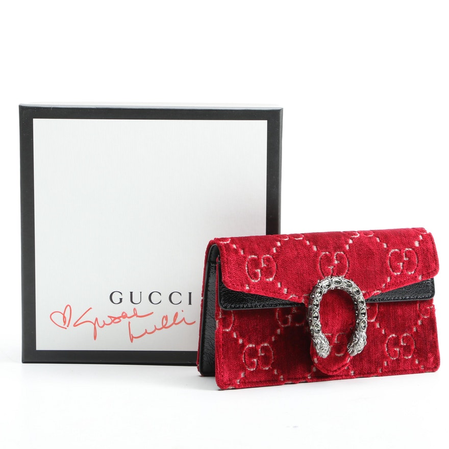 Gucci Red Dionysus GG Velvet Super Mini Bag with Susan Lucci Signed Box