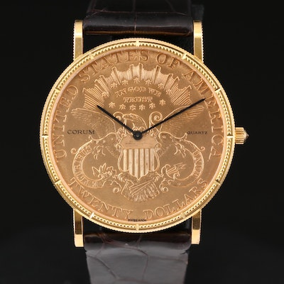 Corum 1904 Double Eagle Gold Coin Wristwatch with Diamond Crown Accent