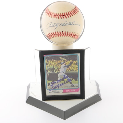 Billy Williams Signed National League Baseball and a Signed Topps Card   COA