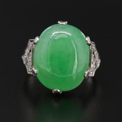 Vintage Platinum Jadeite and Diamond Ring
