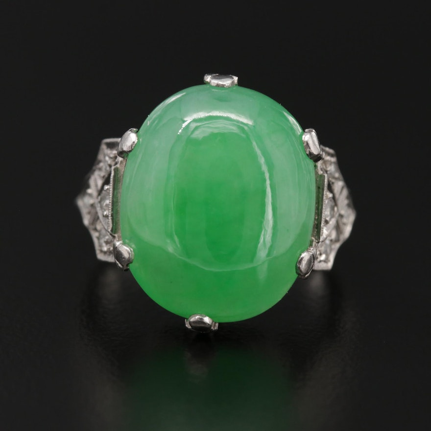Vintage Platinum Jadeite and Diamond Ring