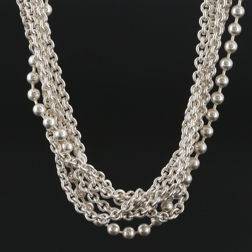 Caviar By LAGOS Sterling Silver Bead and Cable Chain Multi-Strand Necklace