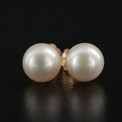 14K Yellow Gold Pearl Stud Earrings