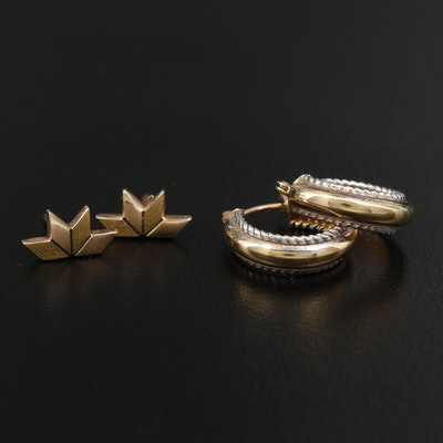 10K Yellow Gold Hoop Earrings and Pins