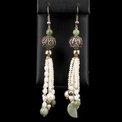 Sterling Silver Jadeite and Pearl Tassel Earrings