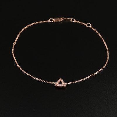 10K Rose Gold Diamond Triangle Bracelet