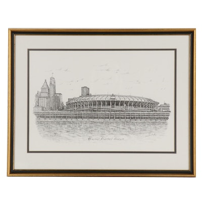 "Lithograph after Geneva South ""Cincinnati Riverfront Stadium"""