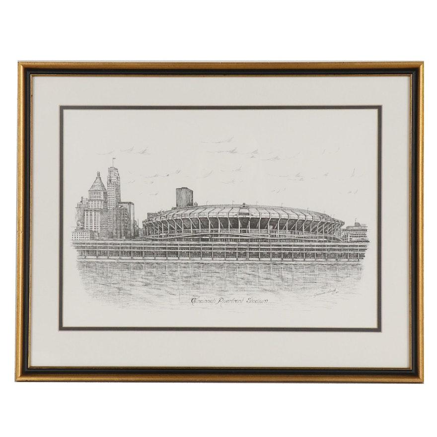 "Lithograph after Geneva South ""Cincinnati Riverfront Stadium"""