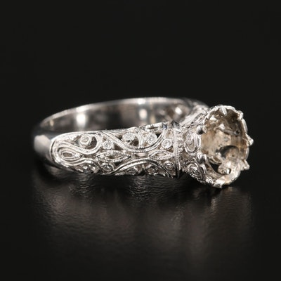 18K White Gold Diamond Semi-Mount Ring