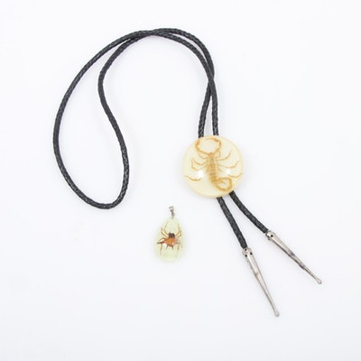 Acrylic Encased Scorpion Bolo Tie and Beetle Pendant