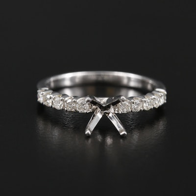 14K White Gold Diamond Semi-Mount Ring