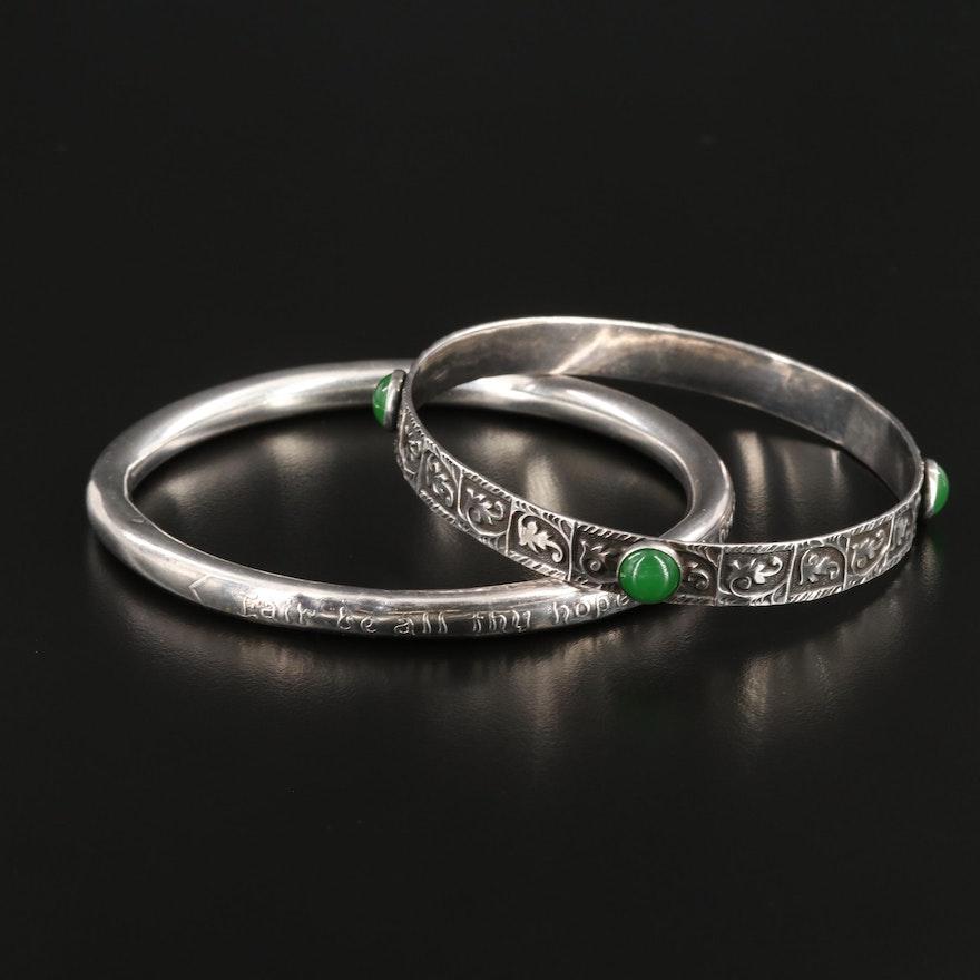 Sterling Silver Glass Bangle Bracelets