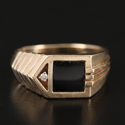 10K Gold Black Onyx and Diamond Ring