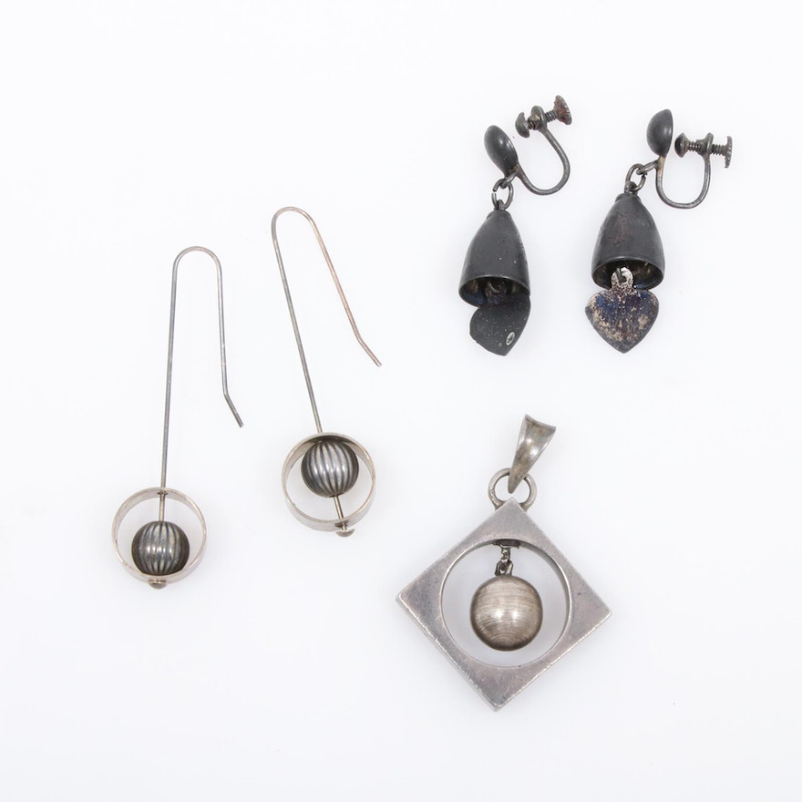 Vintage Sterling Silver Earrings and Pendant