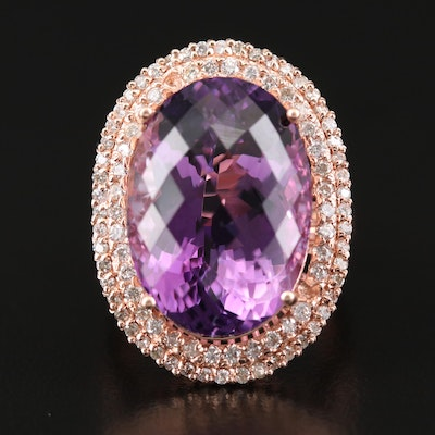 14K Rose Gold 16.84 CT Amethyst and 1.00 CTW Diamond Ring
