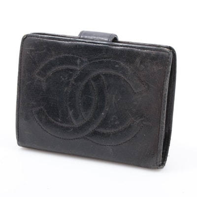 Chanel CC Black Leather Snap Wallet