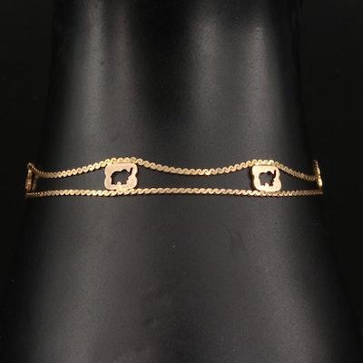 14K Yellow Gold Elephant Motif Link Bracelet