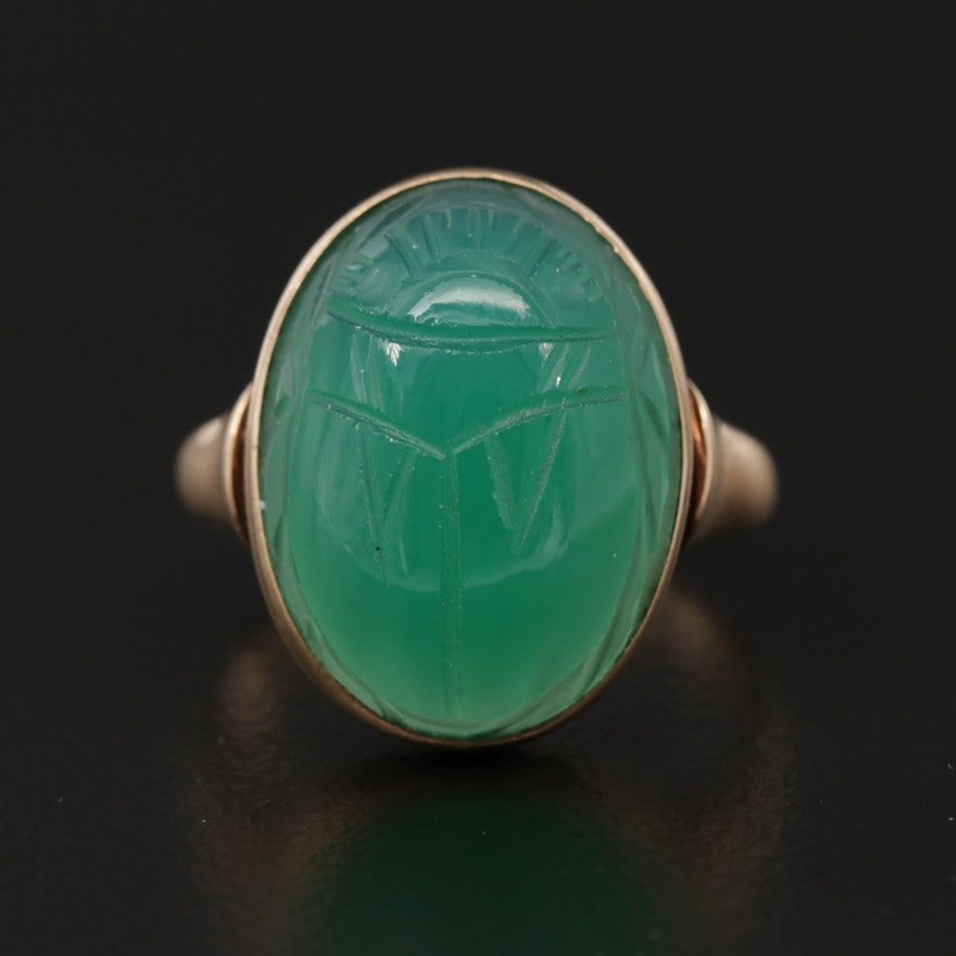 Antique 10K Rose Gold Chalcedony Ring