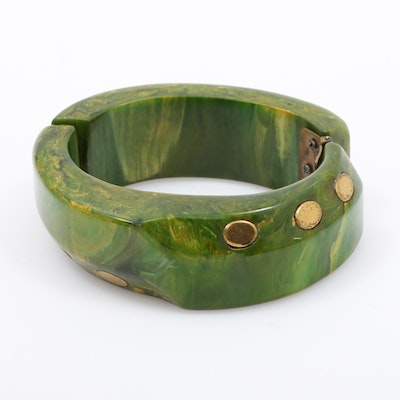 Creamed Spinach Bakelite Hinged Bangle with Brass Inlay