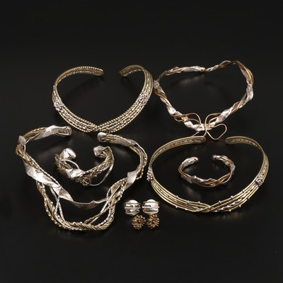 Assorted Bent Wire Collar Necklaces, Cuff Bracelets and Earrings