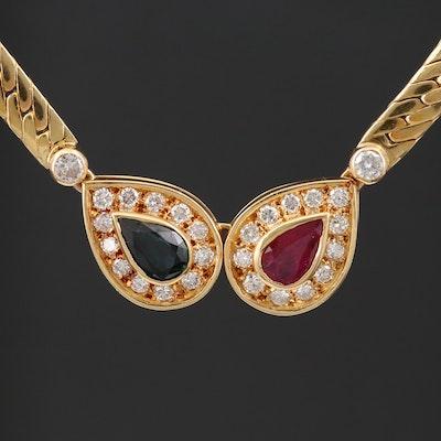 18K Yellow Gold Ruby, Sapphire and Diamond Herringbone Necklace