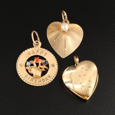 Vintage 14K Yellow Gold Pendants Including Pearl and Heart Locket